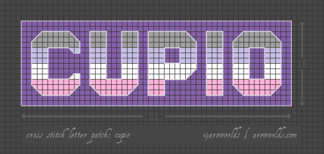 Cupio cross stitch patch pattern with the text cupio in upper-case block lettering, striped in the colours of the grey/lavender/white/pink cupio flag, with a purple background. Pattern is set on a light grey grid. Letters are outlined, indicating backstitch, in light grey.