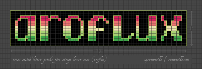Aroflux cross stitch patch pattern with the text aroflux in lower-case lettering, striped in the colours of the pink/coral/lemon/light green/darker green aroflux pride flag, with a black background. Pattern is set on a light grey grid. Letters are outlined, indicating backstitch, in green.