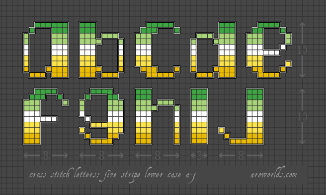 An alphabet cross stitch patch pattern striped in the colours of the green/light green/white/yellow/gold pride flag, with a black background. Pattern is set on a light grey grid. Letters are outlined, indicating backstitch, in light grey. Letters shown include lower-case a, b, c, d, e, f, g, h, and j, with an uppercase I.