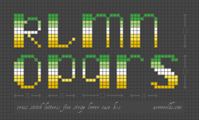 An alphabet cross stitch patch pattern striped in the colours of the green/light green/white/yellow/gold pride flag, with a black background. Pattern is set on a light grey grid. Letters are outlined, indicating backstitch, in light grey. Letters shown include lower-case k, l, m, n, o, p, q, r and s.