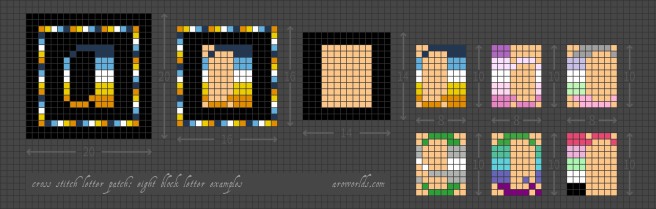 A breakdown of the letter patch design, showing how the inner letter can be swapped out with other lettes of the same size. First section shows the standard letter patch, with an a in aro-ace colours (navy/blue/white/yellow/orange) set on a black background, surrounded by a frame in matching colours. Second section shows the frame and background, with a 10 x 8 block space to fit the letter blocked out in peach. Third section shows the letters a, b, c, g, q and r blocked out in those same 10 x 8 peach blocks. flags. Pattern is set on a light grey grid.