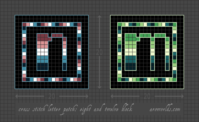 """Two square cross stitch patterns with the letters """"n"""" and """"m"""" in lower-case lettering. Both designs have a black background, with the letter placed in the centre of the patch, surrounded by a striped frame. Both letters and the border, are striped in the colours of the alternate nebularomantic (maroon/pink/white/cyan/teal-blue) and alternate aromantic (dark green/light green/lemon/teal/dark teal) flags. Pattern is set on a light grey grid. Letters are outlined, indicating backstitch, in light blue (n) and light green (m)."""