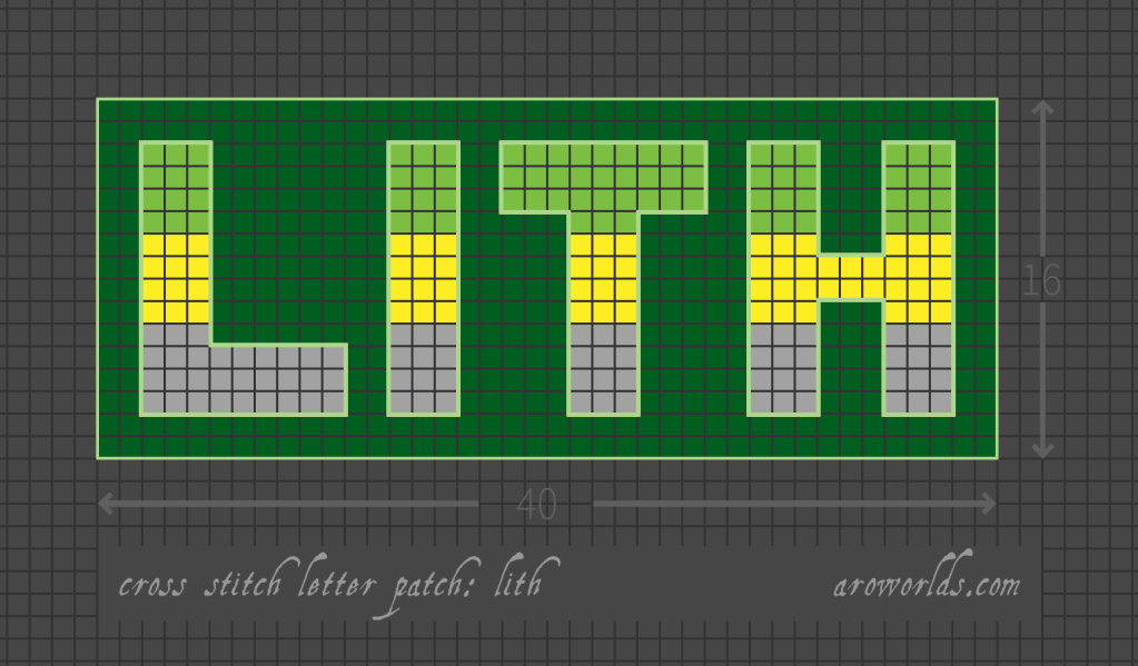 Lithromantic cross stitch patch pattern with the text lith in upper-case block lettering, striped in the colours of the green/yellow/grey lith flag, with a dark green background. Pattern is set on a light grey grid. Letters are outlined, indicating backstitch, in light green.