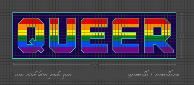 Queer cross stitch patch pattern with the text queer in upper-case block lettering, striped in the colours of the red/orange/yellow/green/blue/purple rainboiw pride flag, with a violet-blue background. Pattern is set on a light grey grid. Letters are outlined, indicating backstitch, in light teal.