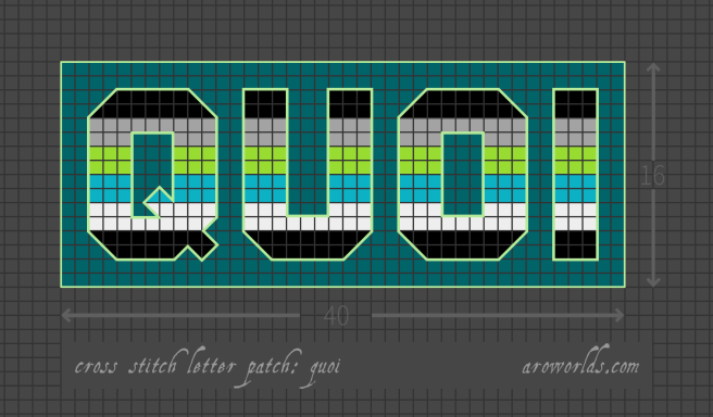Quoiroquoix cross stitch patch pattern with the text quoi in upper-case block lettering, striped in the colours of the black/grey/green/cyan/white/black quoiroquoix flag, with a teal-green background. Pattern is set on a light grey grid. Letters are outlined, indicating backstitch, in mint.
