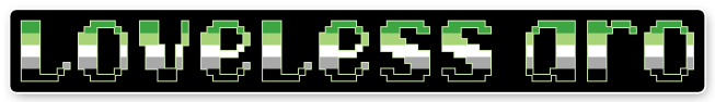 """The text """"loveless aro"""" on a black background bordered with white. The letters are pixelated block-style lower-case letters horizontally striped in the green/light green/white/grey/black colours of the aromantic pride flag."""