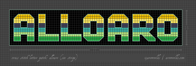 Alloaro cross stitch patch pattern with the text alloaro in upper-case block lettering, striped in the colours of the gold/yellow/navy/teal/light green/green oriented alloaro pride flag, with a black background. Pattern is set on a light grey grid. Letters are outlined, indicating backstitch, in pastel teal.