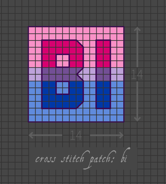 Bi cross stitch patch pattern with the text bi in upper-case block lettering, striped in the colours of the pink/purple/blue bi pride flag, with a pastel background in the same colours. Pattern is set on a light grey grid. Letters are outlined, indicating backstitch, in purple.