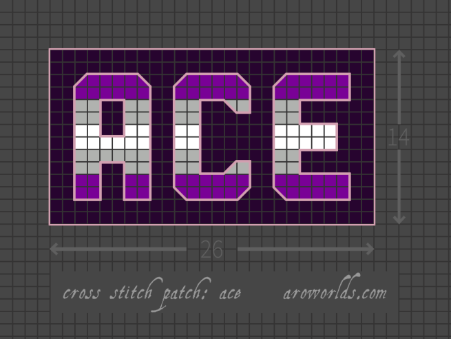 Cross stitch pattern with the text ace in block lettering, striped in the colours of the purple/grey/white/grey/purple greysexual/grey asexual flag, on a dark violet background.