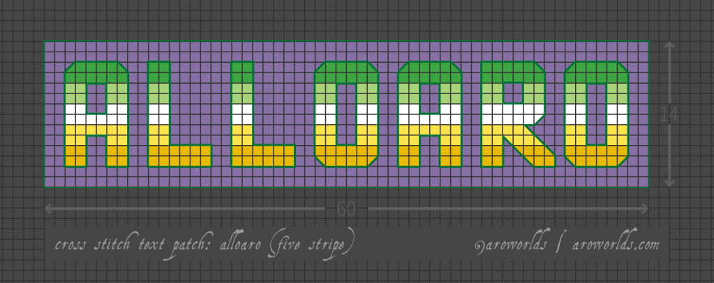 Cross stitch pattern with the text alloaro in block lettering, striped in the colours of the dark green/light gren/white/yellow/gold allo-aro flag, on a purple background.