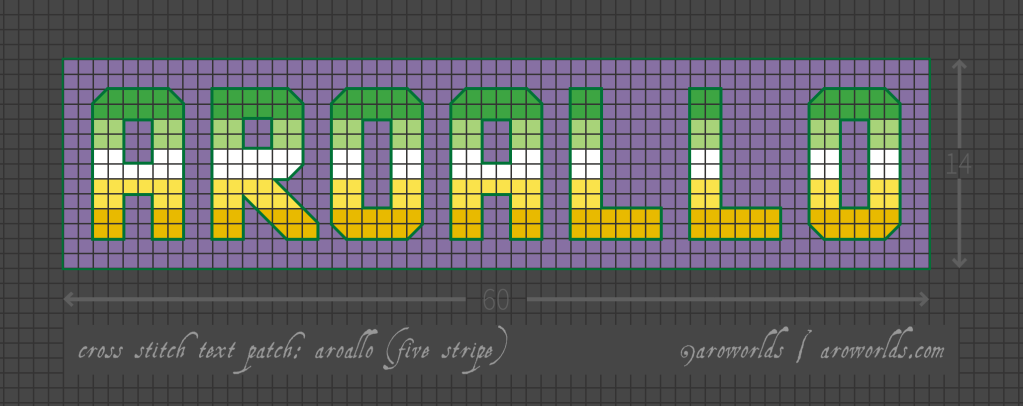 Cross stitch pattern with the text aroallo in block lettering, striped in the colours of the dark green/light gren/white/yellow/gold allo-aro flag, on a purple background.
