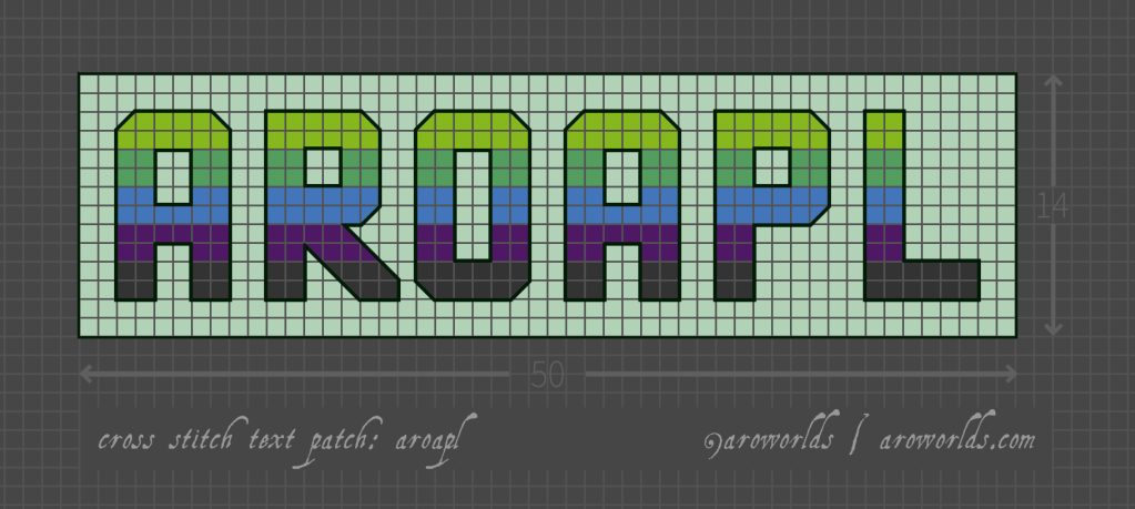 Cross stitch pattern with the text aroapl in block lettering, striped in the colours of the lime/green/blue/purple/dark grey aromantic aplatonic flag. Text outlined in dark green against a light mint background.