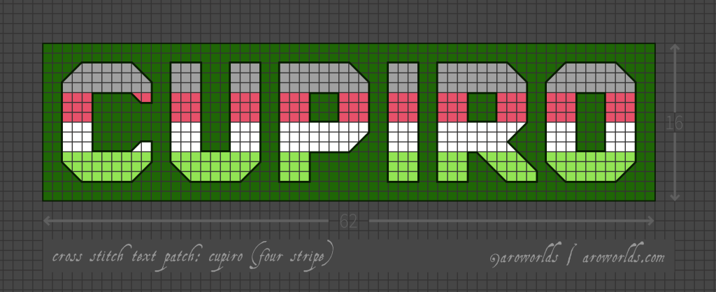 Cross stitch pattern with the text cupiro in block lettering, striped in the colours of the grey/coral/white/lime cupiroflux flag. Text outlined in dark green against a green background.