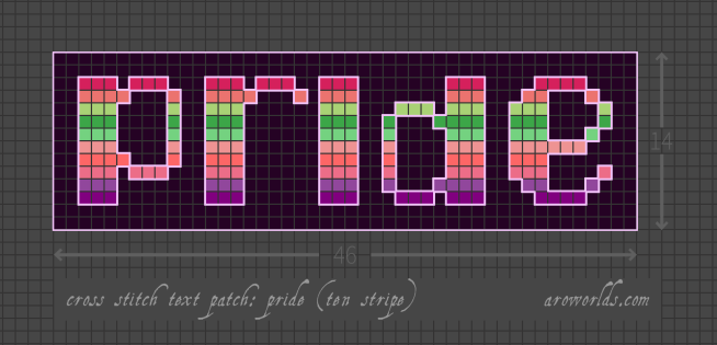 Cross stitch patch pattern with the text pride in lower-case pixel-art-style lettering, striped in the colours of the pink/orange/light green/green/mint/light pink/coral/pink/purple/dark purple aroace flux pride flag, with a dark violet background. Pattern is set on a light grey grid. Letters are outlined, indicating backstitch, in light purple.