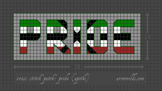 Cross stitch patch pattern with the text pride in upper-case block lettering, striped in the colours of the green/white/black/white/green apothiaromantic pride flag, with a light grey background. Pattern is set on a grey grid. Letters are outlined, indicating backstitch, in dark green. An upright cross is laid over the letters R, I and D in black.