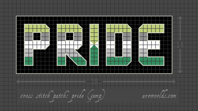Cross stitch patch pattern with the text pride in upper-case block lettering, striped in the colours of the grass green/grey/white/light grey/green arojump pride flag, with a black background. Pattern is set on a grey grid. Letters are outlined, indicating backstitch, in light grey-green. A grass green and light green spike extend from the base and top of the I, meeting over the middle white stripe.