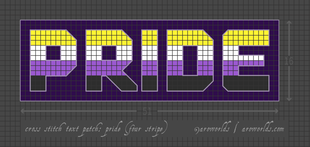Cross stitch patch pattern with the text pride in upper-case block lettering, striped in the colours of the yellow/white/purple/black nonbinary pride flag, with a dark purple background. Pattern is set on a grey grid. Letters are outlined, indicating backstitch, in lilac.