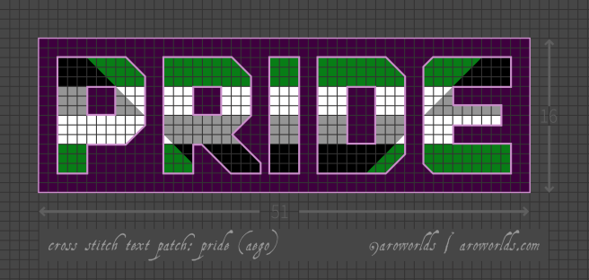 Cross stitch patch pattern with the text pride in upper-case block lettering, striped in the colours of the black/grey/white/green aegoromantic pride flag, with a dark violet background. Pattern is set on a grey grid. Letters are outlined, indicating backstitch, in light violet. A triangle in reverse colours--green/white/grey/black--is overlaid across the text.