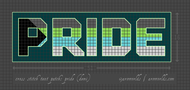 Cross stitch patch pattern with the text pride in upper-case block lettering, striped in the colours of the dark grey/green/cyan/light grey demiquoi pride flag, with a dark teal background. Pattern is set on a grey grid. Letters are outlined, indicating backstitch, in light green. A sideways black triangle is laid over the P.