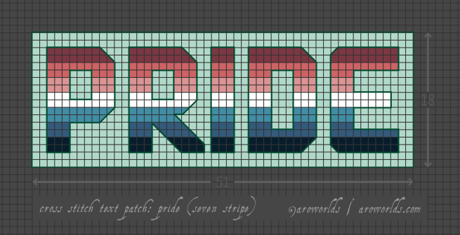 Cross stitch patch pattern with the text pride in upper-case block lettering, striped in the colours of the maroon/coral/pink/white/dark cyan/blue/navy nebularomantic pride flag, with a light mint background. Pattern is set on a grey grid. Letters are outlined, indicating backstitch, in teal.
