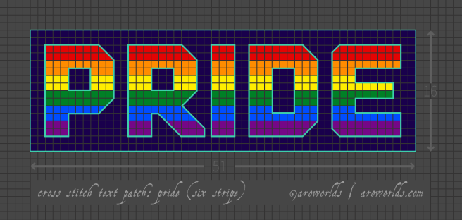 Cross stitch patch pattern with the text pride in upper-case block lettering, striped in the colours of the red/orange/yellow/green/blue/purple gay/queer/LGBTQIA+ rainbow pride flag, with a dark blue-purple background. Pattern is set on a grey grid. Letters are outlined, indicating backstitch, in aqua.