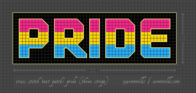 Cross stitch patch pattern with the text pride in upper-case block lettering, striped in the colours of pink/yellow/cyan pansexual pride flag, with a black purple background. Pattern is set on a grey grid. Letters are outlined, indicating backstitch, in lemon.