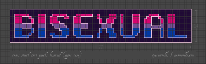 Cross stitch patch pattern with the text bisexual in upper-case pixel-art-style lettering, striped in the colours of the pink/purple/blue bisexual pride flag, with a dark violet background. Pattern is set on a light grey grid. Letters are outlined, indicating backstitch, in light pink.
