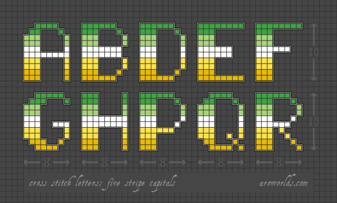 An alphabet cross stitch patch pattern striped in the colours of the green/light green/white/yellow/gold pride flag, with a black background. Pattern is set on a light grey grid. Letters are outlined, indicating backstitch, in light grey. Letters shown include upper-case A, B, D, E, F, G, H, P, Q and R.