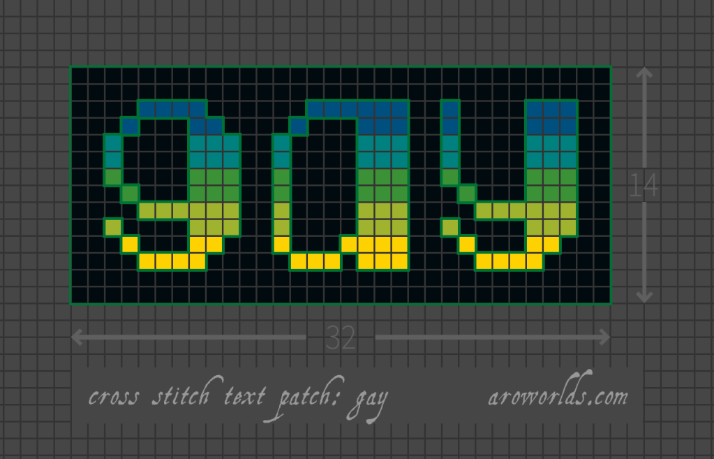 Cross stitch patch pattern with the text gay in lower-case pixel-art-style lettering, striped in the colours of the blue/teal/green/yellow-green/yellow gay male/masc pride flag, with a dark blue-green background. Pattern is set on a light grey grid. Letters are outlined, indicating backstitch, in green.