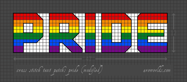 Cross stitch patch pattern with the text pride in upper-case block lettering, striped in the colours of the red/orange/yellow/green/blue/purple gay/queer/LGBTQIA+ rainbow pride flag, with a white background. Pattern is set on a grey grid. Letters are outlined, indicating backstitch, in black.