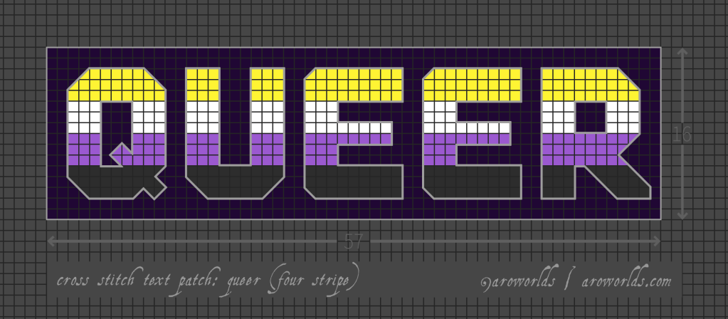 Cross stitch patch pattern with the text queer in upper-case block lettering, striped in the colours of the yellow/white/purple/black non-binary pride flag, with a dark violet background. Pattern is set on a light grey grid. Letters are outlined, indicating backstitch, in light grey.