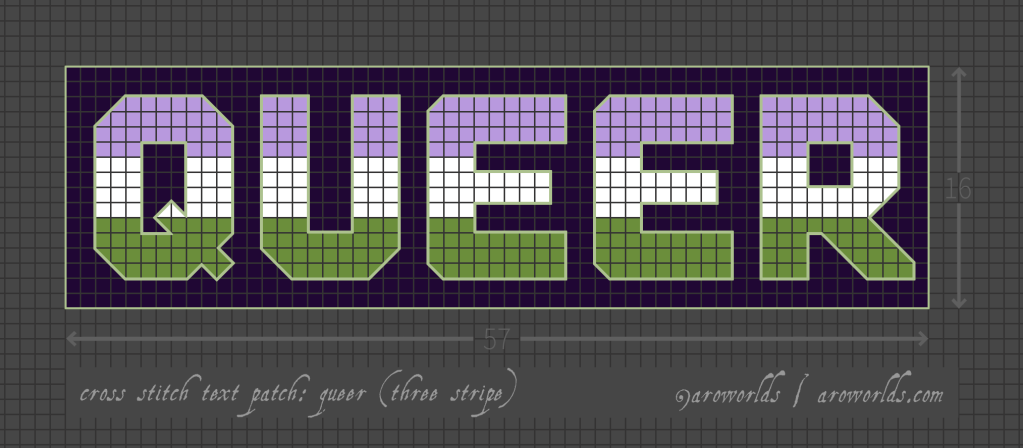 Cross stitch patch pattern with the text queer in upper-case block lettering, striped in the colours of the purple/white/green genderqueer pride flag, with a dark violet background. Pattern is set on a light grey grid. Letters are outlined, indicating backstitch, in light green.