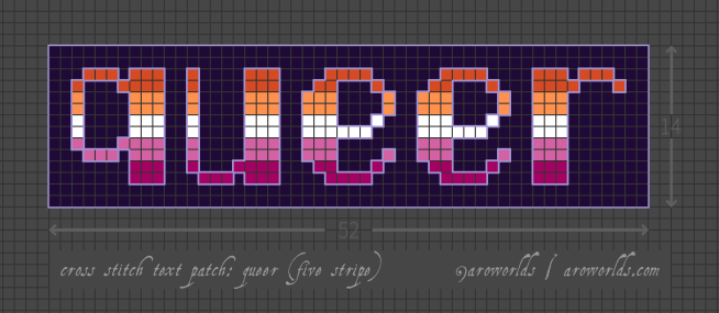 Cross stitch patch pattern with the text queer in lower-case pixel-art-style lettering, striped in the colours of dark orange/orange/white/pink/dark pink lesbian flag, with a purple background. Pattern is set on a light grey grid. Letters are outlined, indicating backstitch, in lavender.