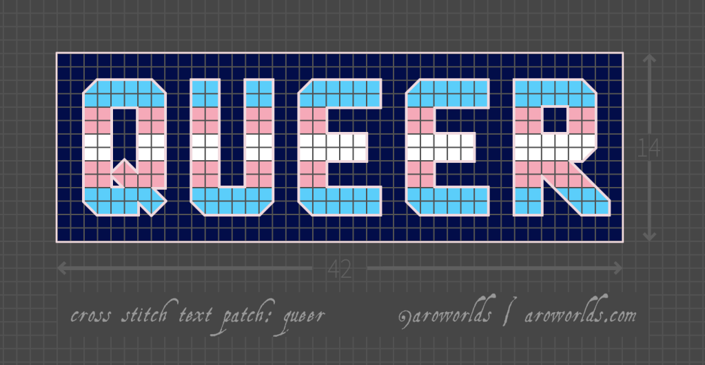 Cross stitch patch pattern with the text queer in upper-case block lettering, striped in the colours of the blue/pink/white/pink/blue transgender pride flag, with a dark blue background. Pattern is set on a light grey grid. Letters are outlined, indicating backstitch, in light pink.