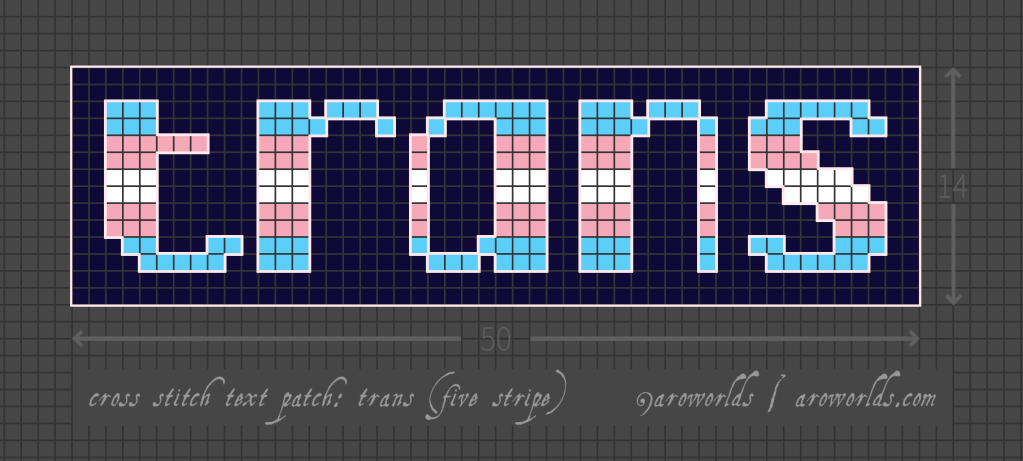 Cross stitch patch pattern with the text trans in lower-case pixel-art-style lettering, striped in the colours of the blue/pink/white/pink/blue transgender flag, with a dark indigo background. Pattern is set on a light grey grid. Letters are outlined, indicating backstitch, in light pink.