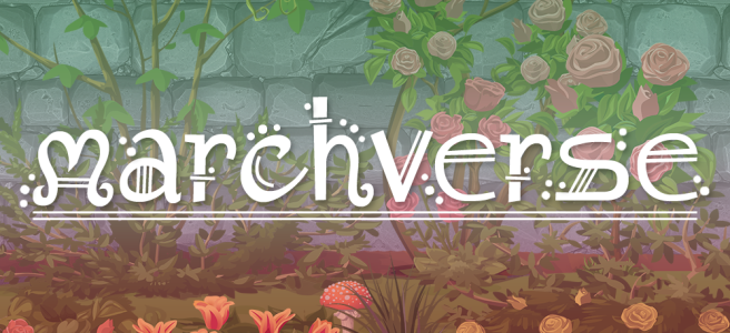 Cartoon-style illustration of shrubs, roses and grasses growing against a grey stone wall. Scene is overlaid with the mint/light mint/white/light pink/pink stripes of the abro pride flag. The text Marchverse sits across the image in a white, fantasy-style type.