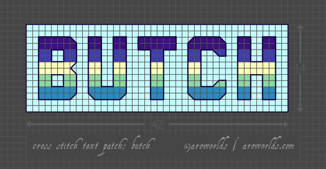 Butch cross stitch patch pattern with the text butch in upper-case block lettering, striped in the colours of the purple/indigo/lemon/mint/cyan butch flag, with a pale blue-green background. Pattern is set on a light grey grid. Letters are outlined, indicating backstitch, in dark indigo.