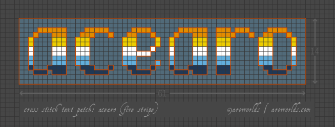 Cross stitch pattern with the text acearo in pixel-style lower-case lettering, striped in the colours of the orange/yellow/white/blue/navy aroace flag, on a light blue-grey background.