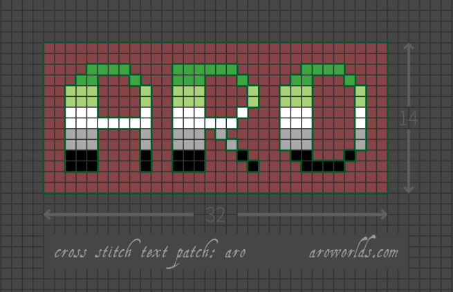 Cross stitch pattern with the text aro in upper-case lettering, striped in the colours of the dark green/light green/white/grey/black aromantic flag. Letters are outlined in dark green against a maroon background.